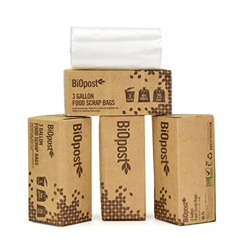 Strong Compostable Bags 3 Gallon Certified Biodegradable Kitchen Scrap Trash Food Waste (Pack of 100) (Corn Starch Container compare prices)