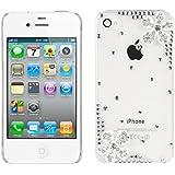 kwmobile® LUXUS STRASS CASE mit Blumen-Design für Apple iPhone 4 / 4S in Transparent Silber