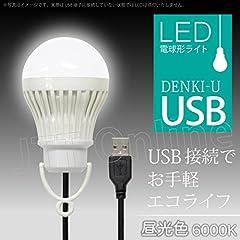 電球形 USB LEDライト DENKI-U (昼光色) USB端子に接続するだけで使える!お手軽エコライフ!!キャンプなどのアウトドアやデスクライトとして大活躍!!