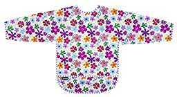 Kushies Taffeta Waterproof Bibs with Sleeves, Flowers, 4-6 Years