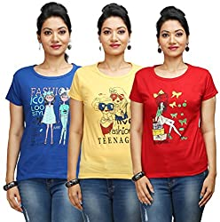 Flexicute Women's Printed Round Neck T-Shirt Combo Pack (Pack of 3)-Royal Blue, Red & Yellow Color. Sizes : S-32, M-34, L-36, XL-38