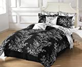 Chezmoi Collection 8-Piece Soft Microfiber Reversible Black White Tree Branches Bed in a Bag Comforter with Sheet Set, King