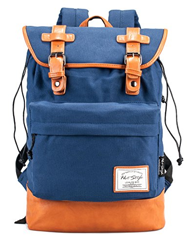 HotStyle 924s Classic Canvas Retro Rucksack Backpack (19L) – With Padded Laptop Sleeve (Sapphire)