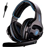 [Upgraded] SADES Stereo Gaming Headset for Xbox One PS4 PC Mac Mobile Tablet, Headphones with Microphone (Color: Black Blue)