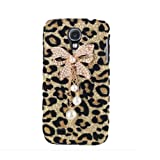 Bling Diamond Bowknot Pearl gold Leopard Hard Case Cover For Samsung Galaxy S4 i9500 Phone