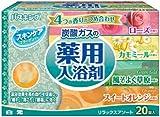 バスキング 炭酸ガスの薬用入浴剤 リラックスアソート(ローズ・カモミール・風邪そよぐ草原・スイートオレンジ) 4種類×5錠入(20錠入)