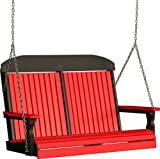Outdoor Polywood 4 Foot Porch Swing - Classic Highback Design *RED/BLACK* Color