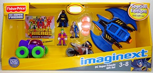 Fisher-Price Imaginext DC Super Friends Figures & Vehicles Gift Set -Batman, Joker, Two Face, Batwing, BatCycle & Joker