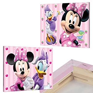 2er set minnie mouse bilder auf keilrahmen 40x30 kinderzimmer bilder set l - Minnie mouse kinderzimmer ...