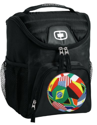 World Flag Soccer Ball Lunch Bag Insulated Lunch Cooler Black World Flag Soccer - Best Size Lunchbox front-918836