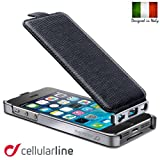 【欧州シェアNo.1】 Cellularline CONVERTIBLE for iPhone5S イタリアン レザー ケース フリップ 縦開き (ブラック)
