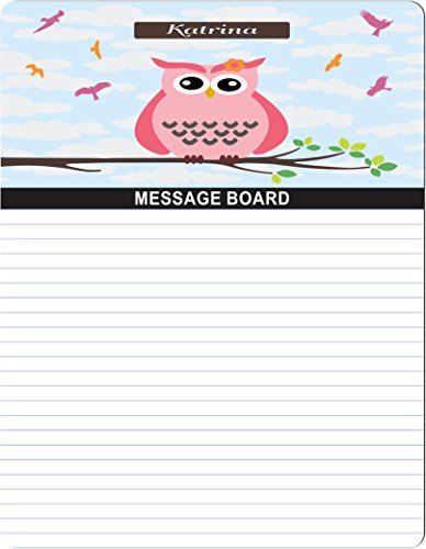 "Rikki Knighttm ""Katrina"" Name - Cute Pink Owl On Branch With Personalized Name Design 8"" X 10"" X 1/8 Hardboard Dry Erase Message Board With Magnet Strips On Back (Black Marker Included) front-635316"