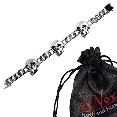 """etNox - braccialetto """"side-di fronte con teschi"""" acciaio inox (rt505)"""