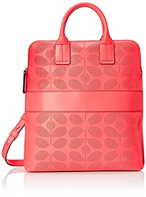 Orla Kiely Sixties Stem Punched Leather Juniper Bag from Orla Kiely