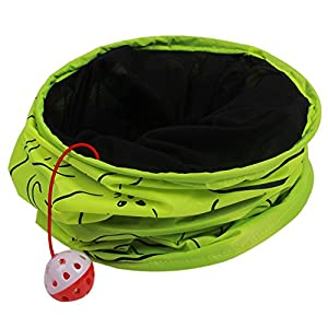 Zeroyoyo 1 Way Pet Cat Tunnel Animal Printed Scratch Kitten Collapsible Exercise Play Funny Toy (Green)
