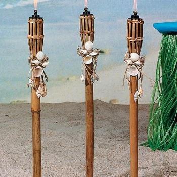 """Oriental Bamboo / Sea Shell 32"""" Luau Tiki Torch Tights"""