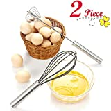 """Chefaith 12"""" Stainless Steel Hand Push Whisk [Self Rotating] [Semi-Automatic] + Food-Grade Silicone Coated Wire Whisk as Bonus - Premium Quality & Ultra Durable Kitchen Whisks for Mixing, Blending"""