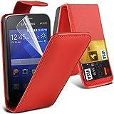 Outstanding Value Samsung Nota 4 tirón Rojo Monedero Cuero sintético cubierta de la caja con dos ranuras para tarjetas para Samsung Nota 4