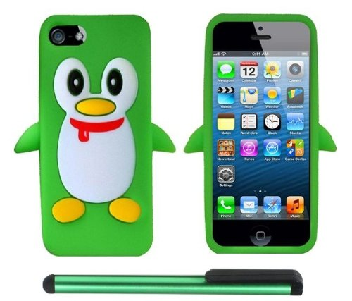 Neon Green Penguin Move On Future Silicone Skin Premium Design Protector Soft Cover Case Compatible for Apple Iphone 5 (AT&T, VERIZON, SPRINT) + Combination 1 of New Metal Stylus Touch Screen Pen (4