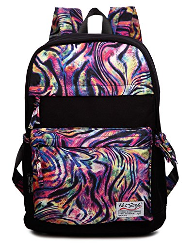 Hotstyle 981S Casual Printed Lightweight Canvas Backpack (20L) Fashion Cute Travel School College Shoulder Bag Bookbags Daypack For Teenage Girls, Students And Women - With Laptop Compartment, Colorful Zebra