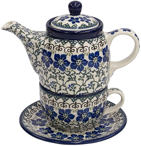 New Polish Pottery TEA FOR ONE SET Boleslawiec CA Pattern 1073 Euro Stoneware