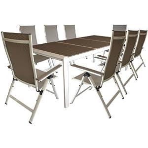 9tlg garnitur alu gartentisch 210x100cm mit polywood non wood tischplatte alu. Black Bedroom Furniture Sets. Home Design Ideas
