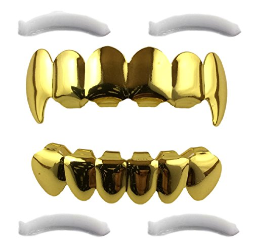 24K Gold Plated Grillz Top & Bottom Fangs + 2 Extra Molding Bars (Platinum Mouth Grillz compare prices)