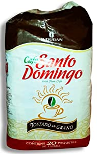 Santo Domingo Whole Roasted Bean Dominican Coffee 20 Bags / Pounds Pack