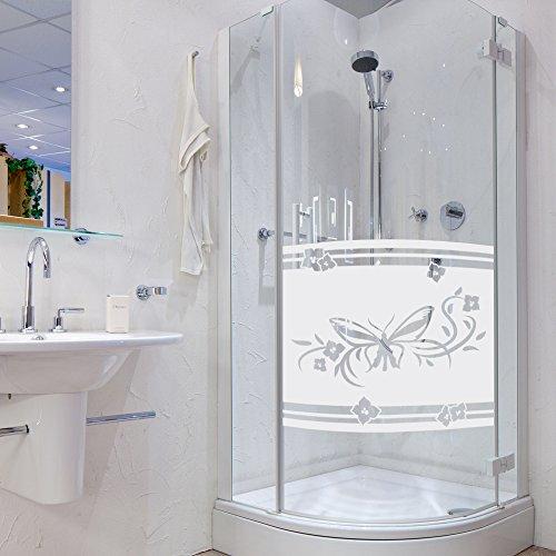 Sichtschutzdekor Duschtür Dusche Milchglasfolie für Badezimmer Schmetterling (80x57cm)