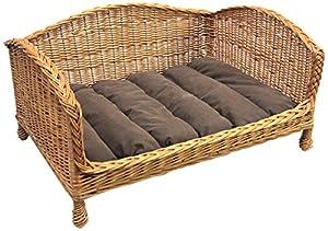 Prestige Wicker Pet Bed Settee with Cushion, Medium