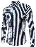 グラストア(Glestore) メンズ ワイシャツ ボタンダウン 形態安定 ストライプ 長袖 シャツ ファッション お洒落 ビジネス カジュアル M-XXL