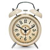 ツインベル常夜燈 目覚まし時計 バックライト付き 金属製時計 大音量 アナログ 連続秒針 音がしない 4インチ ゴールド