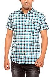 Mufti Men's Casual Shirt (MFS-5767_Turquoise_XX-Large)