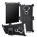 LG G4 Case, Sophia Shop Heavy Duty Tough Rugged Dual Layer Case with Built-in Kickstand, TANK Series Slim Fit Dual Layer Hybrid Armor Protective Case Cover for LG G4 ToughBox Carrier Compatibility AT&T, Verizon, T-Mobile, Sprint, And All International Carriers (White)