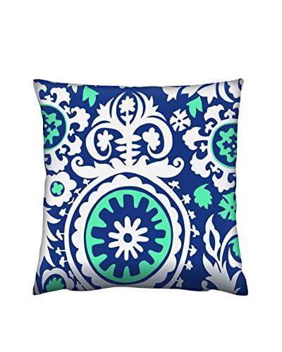 Gravel Moroccan Print Throw Pillow, Blue/White