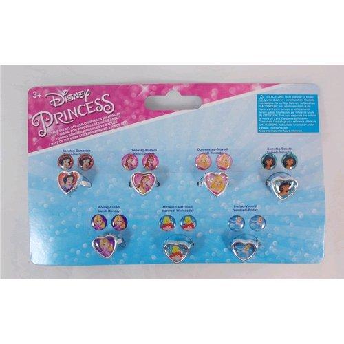 Joy Toy 63523Disney Princess 7-days pegatinas pendientes y juego de anillos