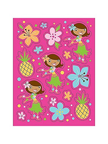 Pink Luau Fun Party Sticker Sheets 4 Pack - 1