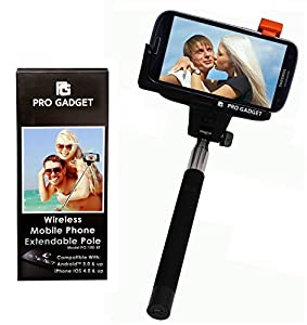 Selfie Stick Bluetooth Wireless Extendable for Apple iPhone 6, 6 Plus 5s 5c 5 4s 4 Android Samsung Galaxy S4, S3 Mini S3 S3 Mini Samsung Galaxy Note Edge 4, 3, 2 New Generation Universal Mount Holder. Integrated Self Portrait Remote Camera Shooting, Inter