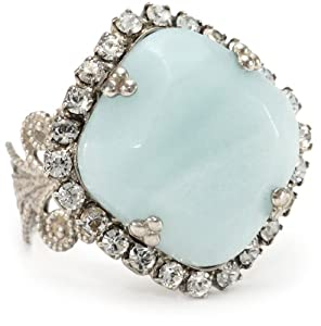 "Sorrelli ""Aegean Sea"" Rose-Cut Amazonite Adjustable Ring"