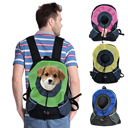 Ondoing Pet Carrier Backpack Dog Travel Bag Pet front Carrier Bag Mesh Backpack Head out Carrier Double Shouder Bags for Extra Small Dogs, Small,Green