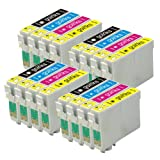 4 Sets of Compatible Printer Ink Cartridges to replace T0556 (16 Inks) - Black / Cyan / Magenta / Yellow for use in Epson Stylus Photo R240, R245, RX420, RX425, RX520