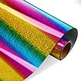 Rainbow Glitter Heat Transfer Vinyl 10 Inch by 5 Feet Multi-Color Holographic Iron on HTV for T-Shirts, Cap, Clothing Decor Compatible with Cameo Silhouette and Other Heat Press Machines