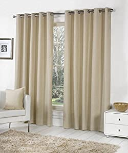 Beige 100% Cotton 46x54 117x137cm Fully Lined Ring Top Curtains Drapes from Curtains