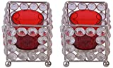 Zayn D Crystal Votive Candle Holder (7.5 cm x 7.5 cm x 16 cm, Red)
