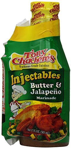 Tony Chachere Butter and Jalapeno  With Injector, 17-Ounce Bottles (Pack of 6) (Cajun Chef Jalapeno compare prices)
