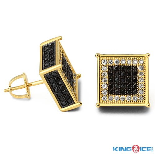 King Ice Gold and Black Ice Rappers Earrings