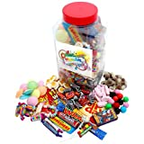 Retro Sweet Shop Gift Jar by Chewbz, filled with 2kilo's of classic sweetshop retro sweets including fried eggs, shrimps, fizzers, drumsticks and more. Fantastic value and a perfect present for retro sweet fans.