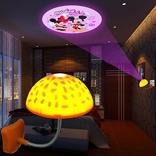 coffled ® Baby Bedroom Bar Hotel Mushroom Ceiling Roof LED Logo Shadow Projector Night Light Sleeping Lamp Infrared Sensor For Home Decoration Projection Image Random
