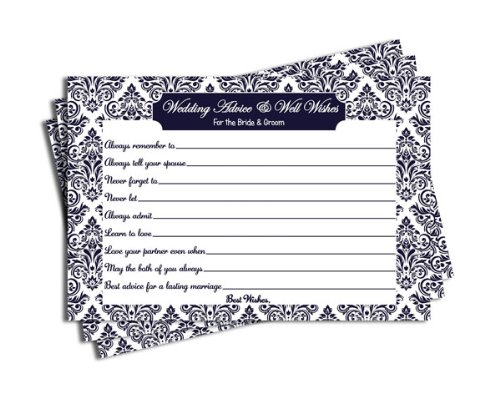 Wedding Advice and Well Wishes - Bridal Shower - Wedding - Navy Blue Damask (50-cards) - 1