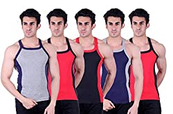 Zimfit Superb Gym Vests - Pack of 5 (GRY_RED_BLK_BLU_RED_80)